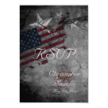 Patriotic USA Flag with Stars Wedding RSVP Cards