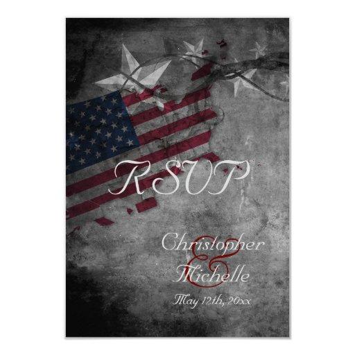 Patriotic USA Flag with Stars Wedding RSVP Cards Zazzle