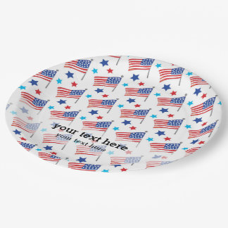 Patriotic USA flags Paper Plate