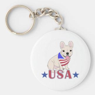 Patriotic USA French Bulldog Basic Round Button Keychain
