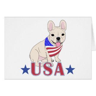 Patriotic USA French Bulldog Card