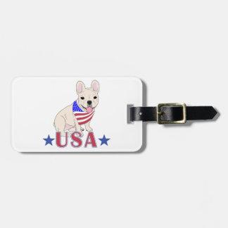 Patriotic USA French Bulldog Luggage Tag