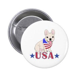 Patriotic USA French Bulldog Pinback Button
