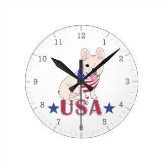 Patriotic USA French Bulldog Round Clock