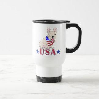 Patriotic USA French Bulldog Travel Mug