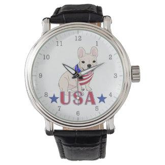 Patriotic USA French Bulldog Wristwatches