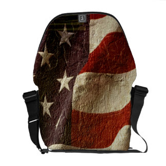 Patriotic USA Grunge Stars and Stripes in Stone Courier Bags