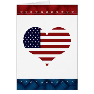 Patriotic USA Heart Blank Card