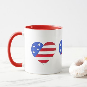 USA Themed Patriotic USA Heart Red White Blue American Flag Mug