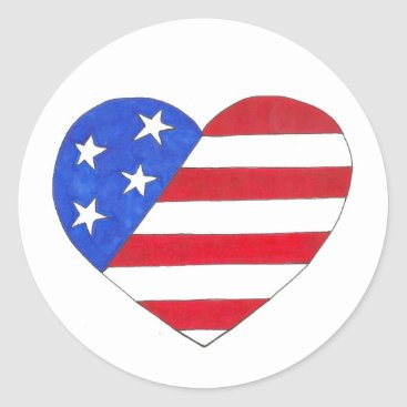 USA Themed Patriotic USA July 4th American Flag Heart Love Classic Round Sticker