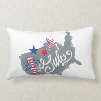 Patriotic USA Map 4th Of July Independence Day Lumbar Pillow