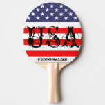 Patriotic USA ping pong paddle with American flag