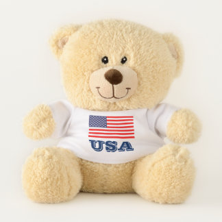 Patriotic USA pride teddy bear with American flag