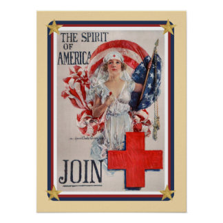 Patriotic USA - Red Cross Join Poster