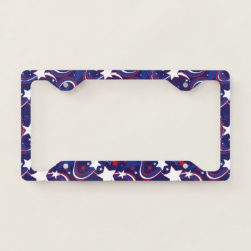 USA Themed Patriotic USA Red White Blue Pattern License Plate License Plate Frame