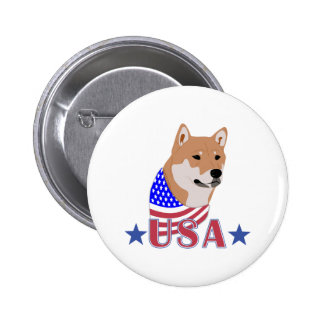 Patriotic USA Shiba Inu Pinback Buttons