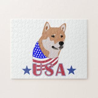 Patriotic USA Shiba Inu Jigsaw Puzzle