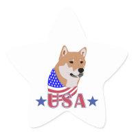 Patriotic USA Shiba Inu Star Sticker