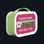"""Patriotic USA Soccer Lunch Box<br><div class=""""desc"""">Patriotic USA Soccer ~ Patriotic USA colors and design. Red and white soccer ball in the grass. Soccer in navy blue with white stars. Customizable,  type in your team name or player&#39;s name.  Comes in a variety of colors too.</div>"""