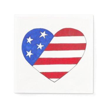 USA Themed Patriotic USA Stars Stripes Heart American Flag Paper Napkin