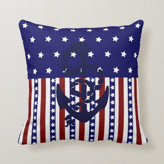 Patriotic USA Stars Stripes Nautical Anchor Pillow