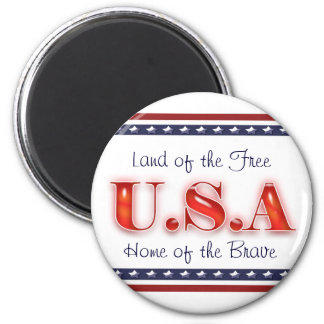 Patriotic USA stars stripes patriotism 2 Inch Round Magnet