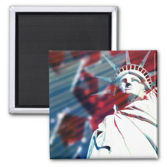 Patriotic USA Statue of Liberty Flag Design Magnet
