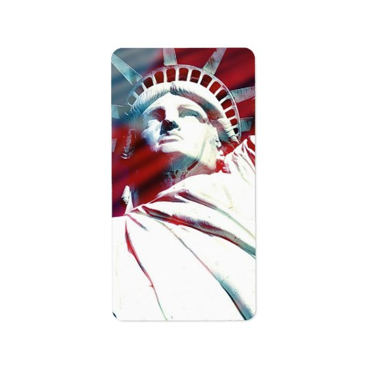 Patriotic USA Statue of Liberty Flag Label