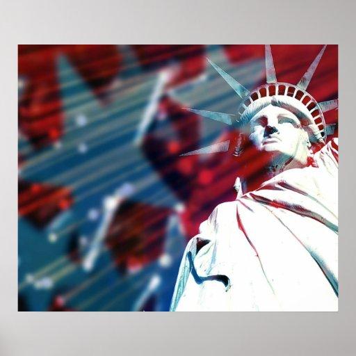 Patriotic USA Statue of Liberty Flag Poster Print