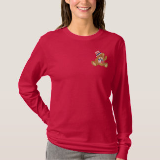 Patriotic USA Teddy Bear Embroidered Long Sleeve T-Shirt