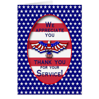 PATRIOTIC - USA - THANK YOU FOR YOUR SERVICE CARD