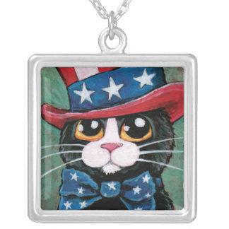 Patriotic USA Tuxedo Cat | Cat Art Pendant