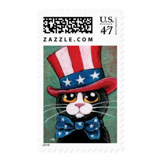 Patriotic USA Tuxedo Cat  | Medium Postage