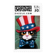 Patriotic USA Tuxedo Cat  | Medium Postage