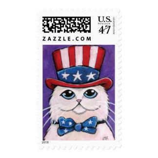 Patriotic USA White Persian Cat  | Medium Postage