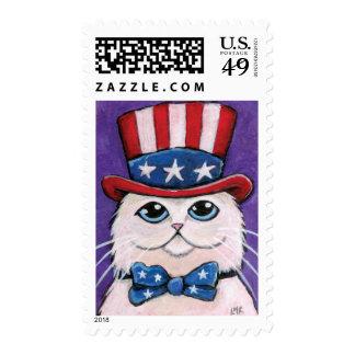 Patriotic USA White Persian Cat Medium Postage