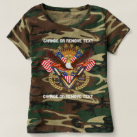 Patriotic Veteran Women Camouflag view notes below T-shirt
