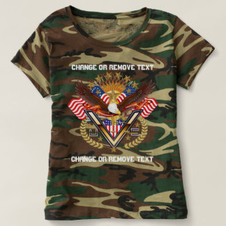 Patriotic Veteran Women Camouflag view notes below T-shirt