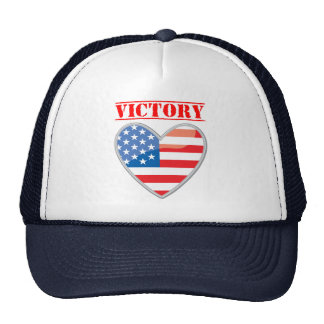 Patriotic Victory Heart United States Trucker Hat