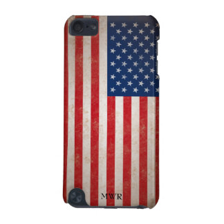 Patriotic Vintage American Flag Monogrammed iPod Touch 5G Cases