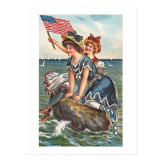 Patriotic Vintage Beach Scene Postcard