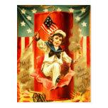 Patriotic Vintage Boy Fourth July Fireworks Card