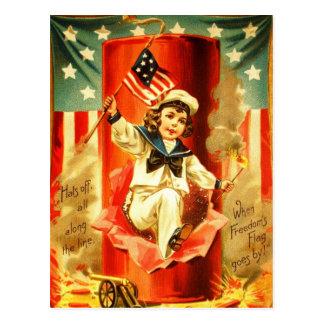 Patriotic Vintage Boy Fourth July Fireworks Card Postcard