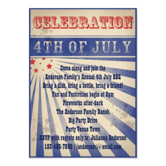 "Patriotic Vintage Broadside Poster Style 4th July 4.5"" X 6.25"" Invitation Card"