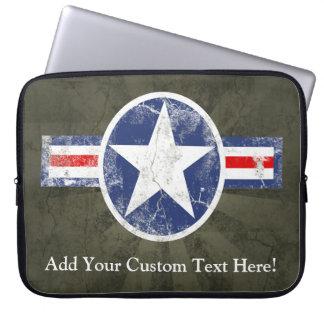 Patriotic Vintage Military USA Star Laptop Sleeve