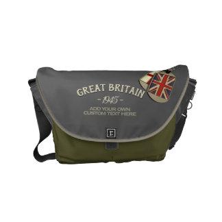 Patriotic Vintage Style British Dog Tags Small Messenger Bag