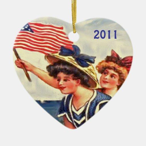 patriotic vintage xmas decor ceramic ornament
