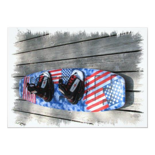 Patriotic Wakeboard Invitation