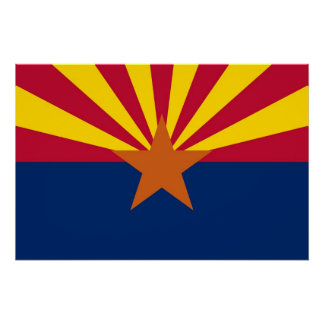 Patriotic wall poster with Flag of Arizona State