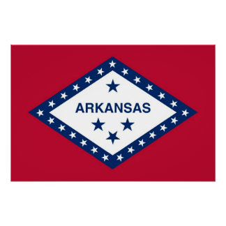 Patriotic wall poster with Flag of Arkansas State